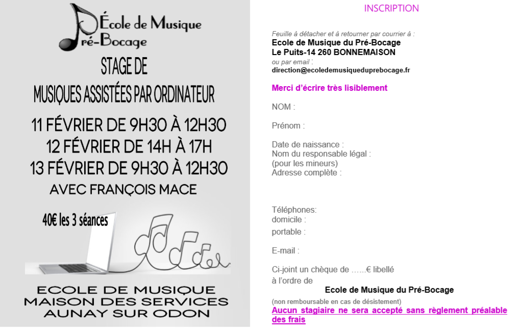 Inscription stage mao fevrier
